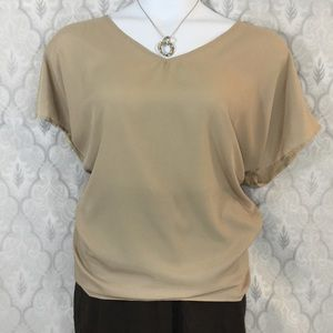 Lane Bryant Vneck Mixed Material Blouse, NWT